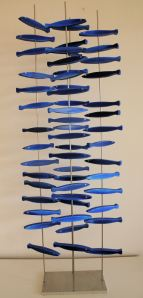blue fishswarm acrylic on wood, chrome steel