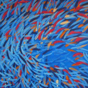 fishswarm acrylic on canvas 120 x 120 cm