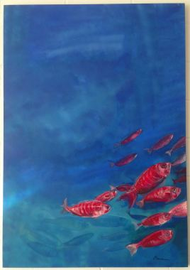 red fishes/ acrylics on hardboard/ 80 x 100 cm