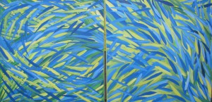 yellow fishes acrylic on canvas 2 x 60 x 60 cm