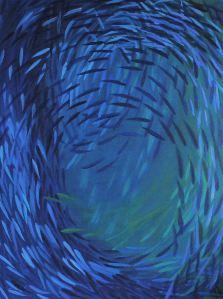 fishswarm blue acrylic on canvas 120 x 160 cm
